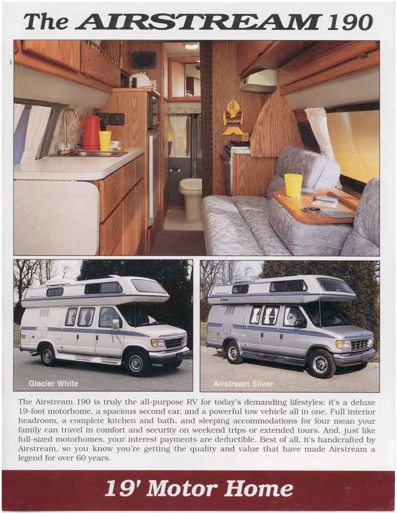 Airstream Class B Motor Home Brochure Camper Van